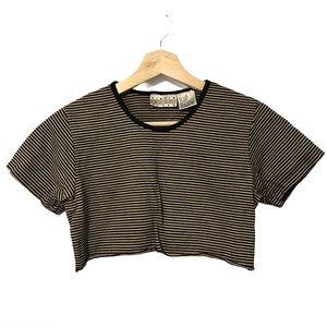 Vintage Linen Blend Raw Hem Beige Stripe Crop Top